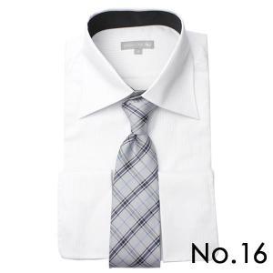 ワイシャツ&ネクタイ2点セット 長袖 ワイシャツ ネクタイ メンズ 紳士用 ボタンダウン カッタウェイ 白 ホワイト ブルー ストライプ バレンタイン[送料無料] tresta 29