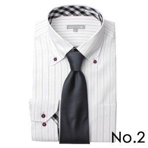 ワイシャツ&ネクタイ2点セット 長袖 ワイシャツ ネクタイ メンズ 紳士用 ボタンダウン カッタウェイ 白 ホワイト ブルー ストライプ バレンタイン[送料無料] tresta 15