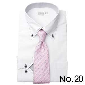 ワイシャツ&ネクタイ2点セット 長袖 ワイシャツ ネクタイ メンズ 紳士用 ボタンダウン カッタウェイ 白 ホワイト ブルー ストライプ バレンタイン[送料無料] tresta 33