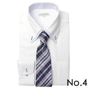 ワイシャツ&ネクタイ2点セット 長袖 ワイシャツ ネクタイ メンズ 紳士用 ボタンダウン カッタウェイ 白 ホワイト ブルー ストライプ バレンタイン[送料無料] tresta 17