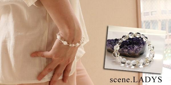 水晶,原石,パワーストーン,デザインブレス,レディース着用図