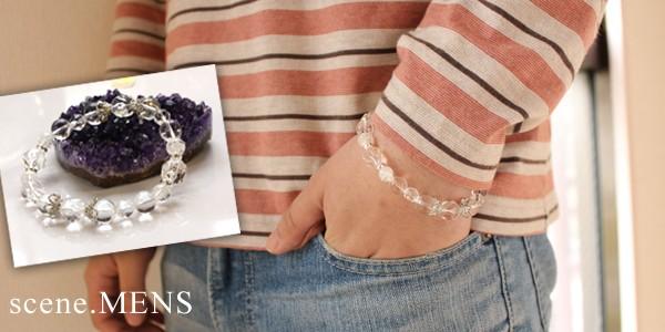 水晶,原石,パワーストーン,デザインブレス,メンズ着用図