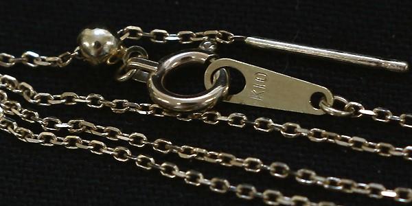 GGS K10YGあずきチェーン18cm スライドチェーン ストッパーパーツ付きを背景を黒にしてサイドから撮影
