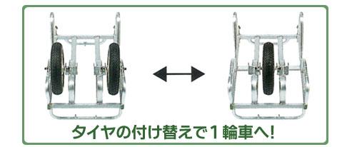 タイヤの付け替えで1輪車へ