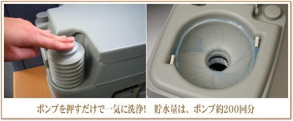 ポンプを押すだけの簡単水洗トイレです。