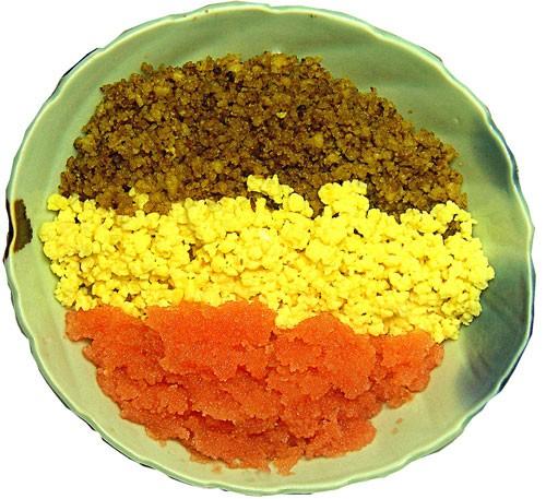 明太子レシピ 明太子をタップリ漬かった。豆腐しぐれのヘルシー三色どんぶり