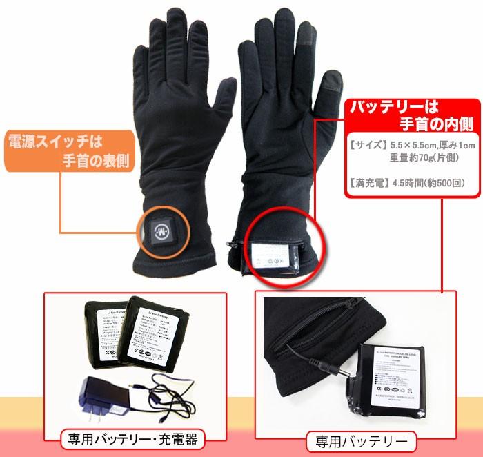 送料無料 電熱ホットインナーグローブ 充電式 防寒 手袋 電熱グローブ グローブ ヒーターグローブ インナー 手袋 電気 バイク 自転車 釣り スキ スノーボード 暖かい ほかほか