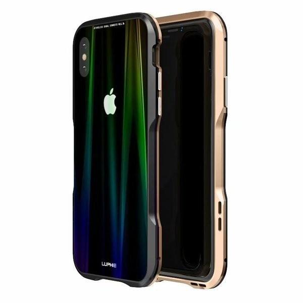 iPhoneX iPhone X ケース カバー iPhoneXケース 磁石止め アルミ マグネット ガラスフィルム 進呈|u-link2|12