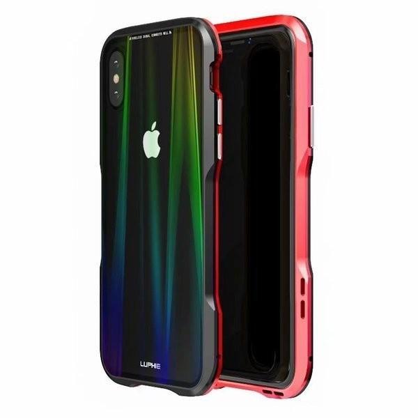 iPhoneX iPhone X ケース カバー iPhoneXケース 磁石止め アルミ マグネット ガラスフィルム 進呈|u-link2|13
