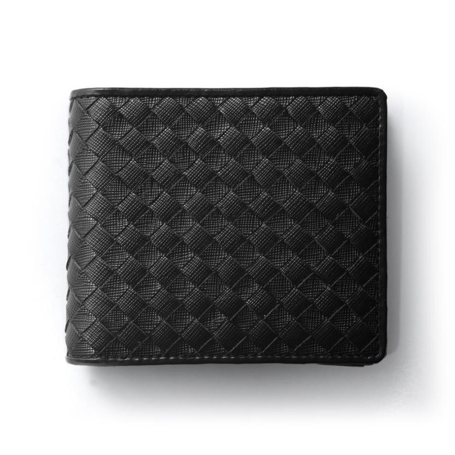 二つ折り財布 財布 本革  ユニセックス ギオネ イントレチャート ウォレット 編み込み ラムレザー メンズ レディース|u-stream|32