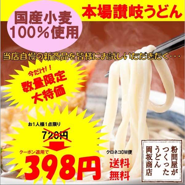 おためし送料無料!国産小麦使用の讃岐うどん半生麺 4食分 398円クーポン