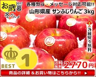 【送料無料】山形産 特秀品 サンふじリンゴ 約3kg(8玉〜11玉前後)