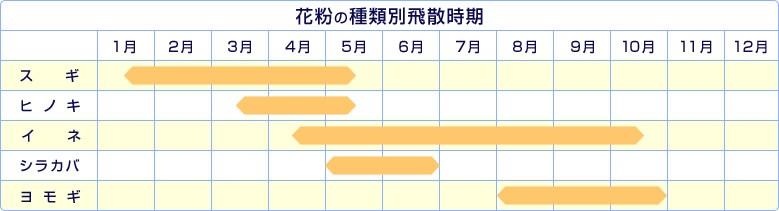花粉の種類別飛散時期 スギ 1月〜5月 ヒノキ 3月〜5月 イネ 3月〜10月 シラカバ 5〜6月 ヨモギ 8〜10月
