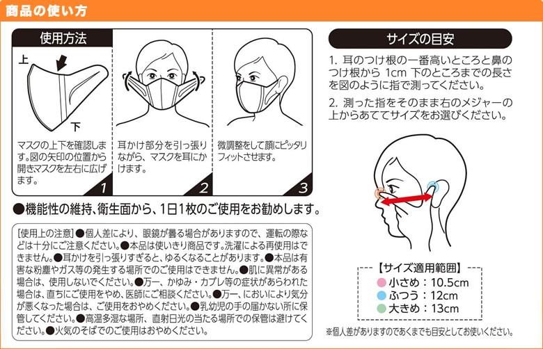マスクの上下を確認し、左右に開く 耳掛け部分を引っ張りながらマスクを耳にかける 微調整をして顔にピッタリフィットさせる