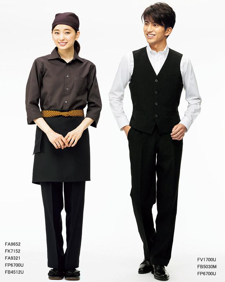 男女兼用裾上げらくらくパンツFP6700Uストレッチトロ/フェイスミックス