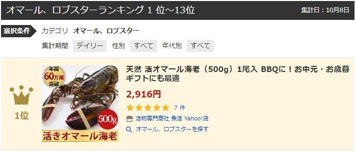 Yahoo!オマール・ロブスターランキング1位獲得
