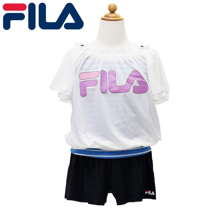 61b8601ecd0 フィラ ロゴ 水着 3点セット ガールズ キッズ セパレート水着× Tシャツ ホワイト