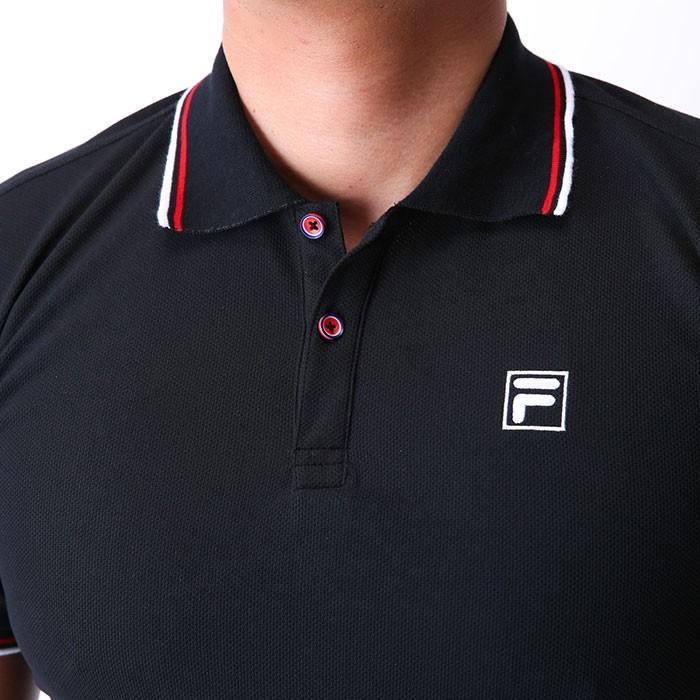 fac36ca5294c39 FILA ポロシャツ メッシュ 黒色 半袖 フィラ ワンポイント 刺繍 418305 トップス ドライ