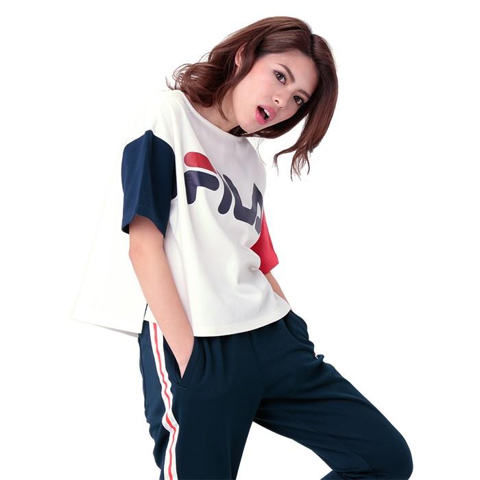 eea285e83fc6b0 FILA フィラ ビッグロゴ カジュアル レディースTシャツ ホワイト トップス 半袖 おしゃれ BOX型