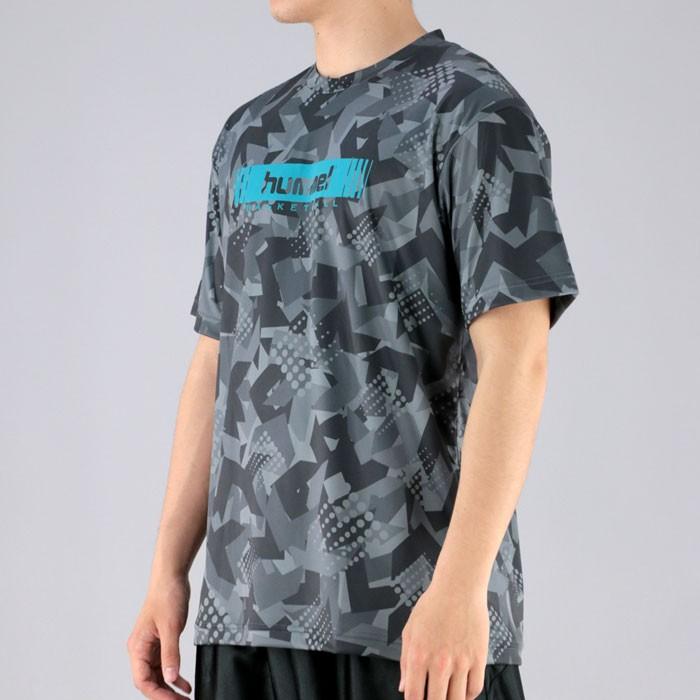 【メール便OK】hummel 半袖Tシャツ ヒュンメル バスケ用 スポーツウェア 昇華Tシャツ ブラック