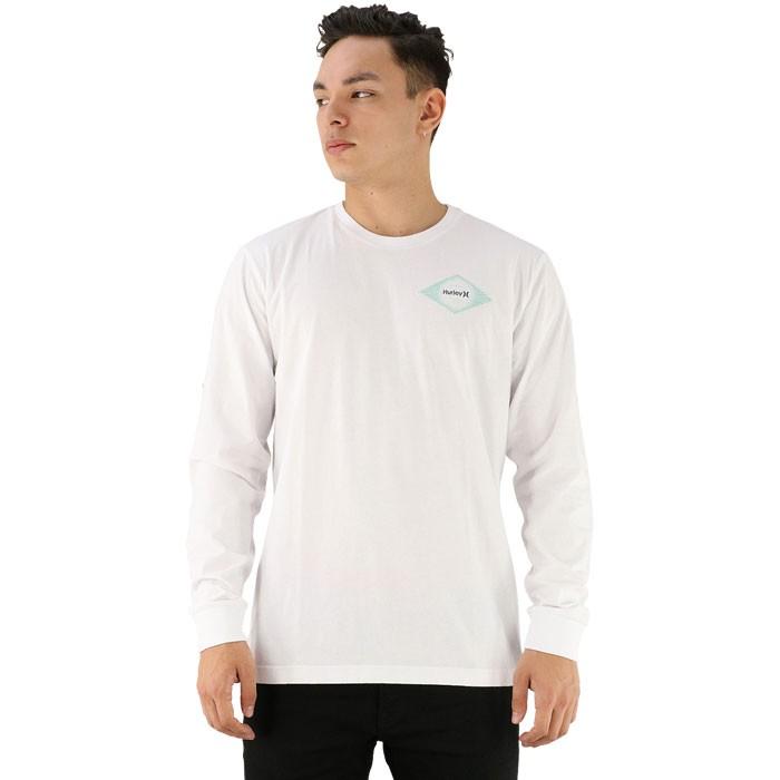 カジュアル ロンT インナー 長袖ティーシャツ ハーレー カットソー ホワイト 白 丸首 ビッグプリント
