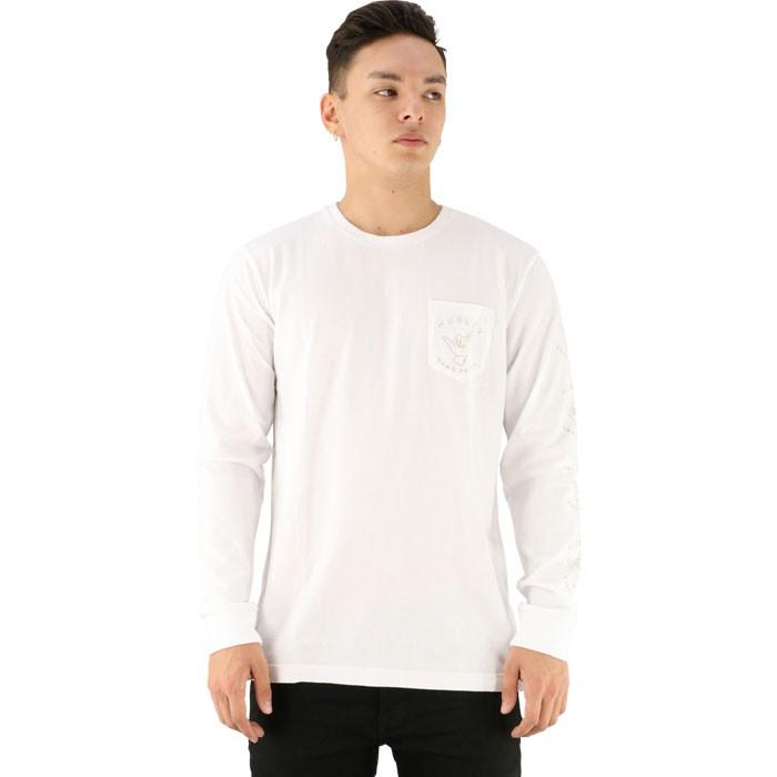 HURLEY 袖プリント ロンT 長袖ティーシャツ ハーレー カットソー ホワイト 白 丸首 ハンドサイン