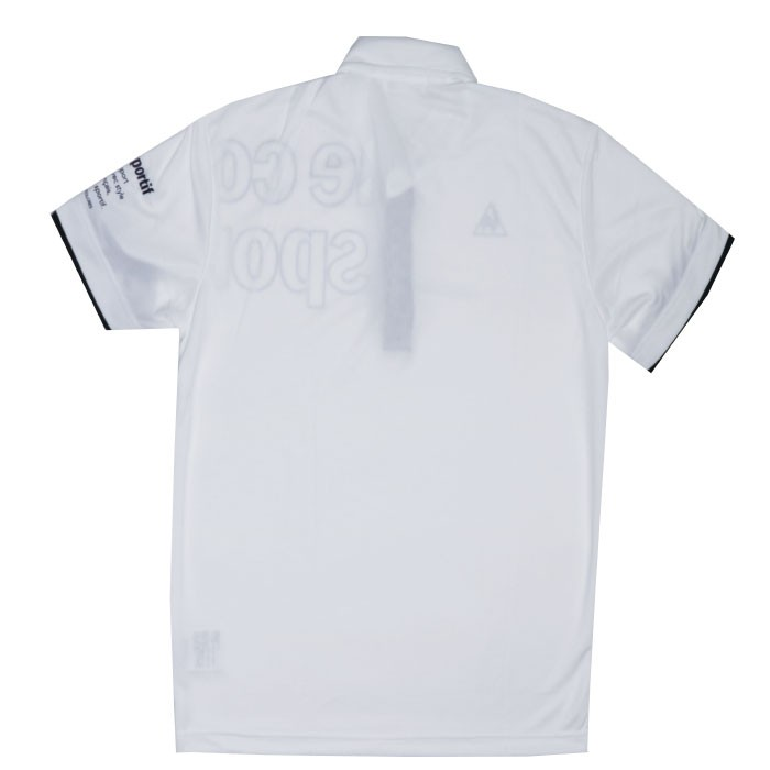 ルコック 半袖ポロシャツ 白色 スポーツウェア ゴルフ テニス Lecoq 吸汗速乾 ホワイト UVカット 襟付き