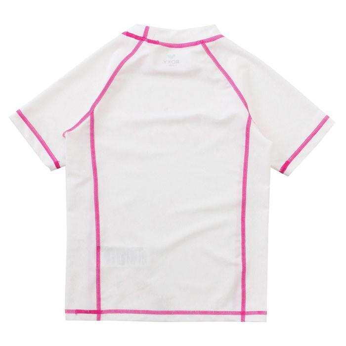 【メール便対応】ロキシー キッズ 半袖ラッシュガード 白色 女の子用 ピンク ラッシュ TLY172104