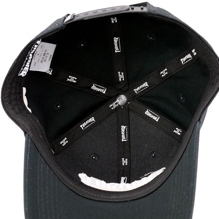 スラッシャー 帽子 キャップ 黒色 ツイル6パネルキャップ ビッグロゴ ブラック THRASHER 定番ロゴ 刺繍入り
