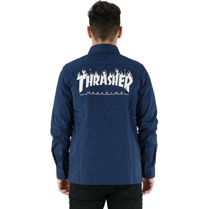 ワークシャツ THRASHER 長袖シャツ ネイビー 紺 ブルー スラッシャー ビッグロゴ 刺繍 TH5093