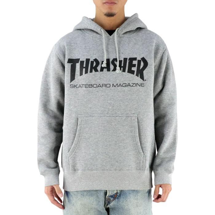 スラッシャー メンズパーカー グレー 定番 ロゴ THRASHER トレーナー 裏起毛 プリント ビッグロゴ