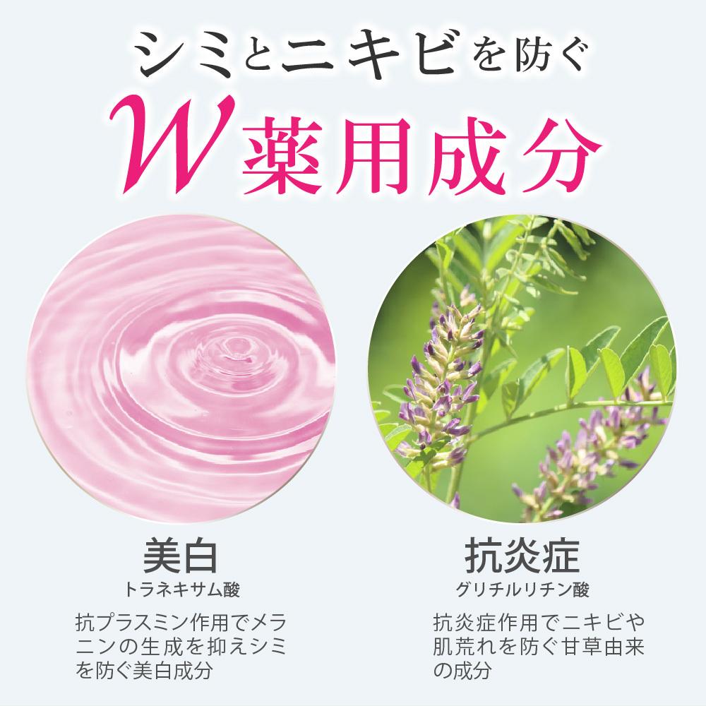 シミとニキビを防ぐ薬用成分。トラネキサム酸(美白)とグリチルリチン酸(抗炎症)
