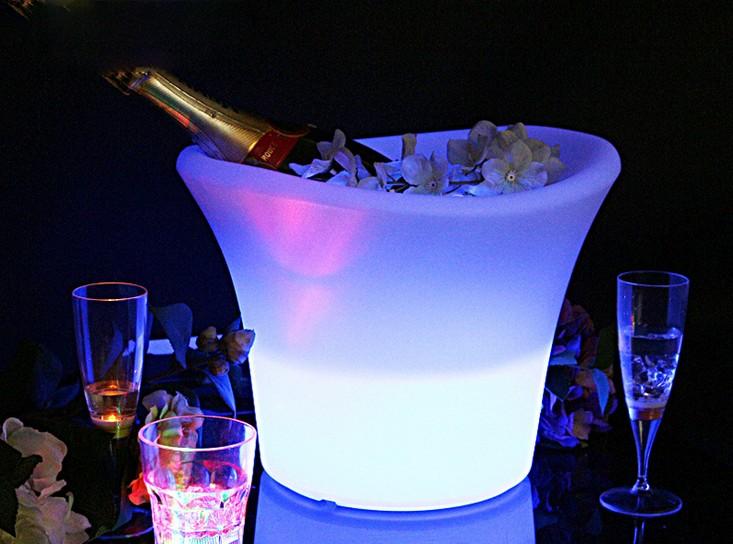 光るワインクーラー ラウンド型 充電式 アイスペール LED お洒落 シンプル シャンパン ボトル