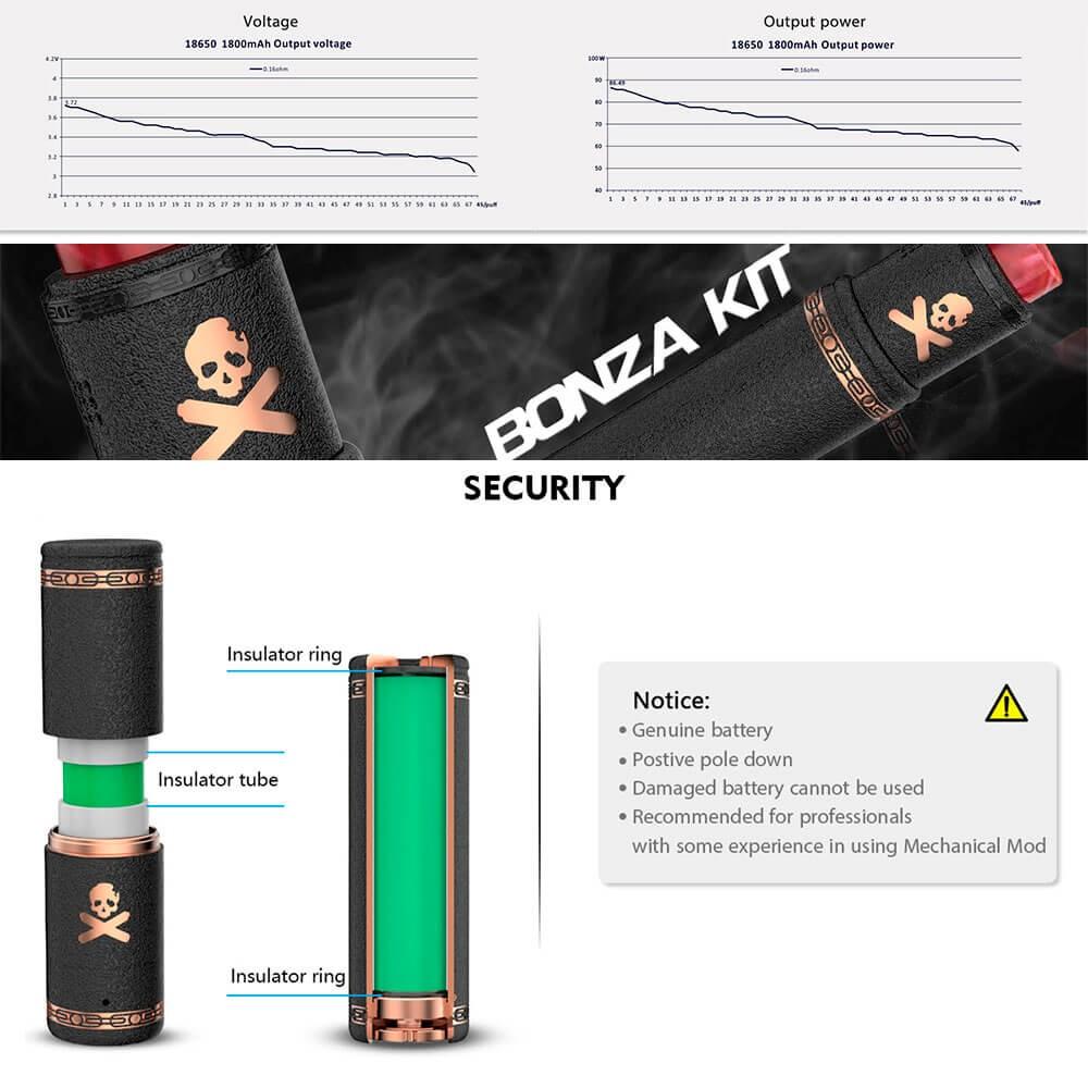 電子タバコ VANDY VAPE メカニカルMOD BONZA mech KIT 21700バッテリー使用可