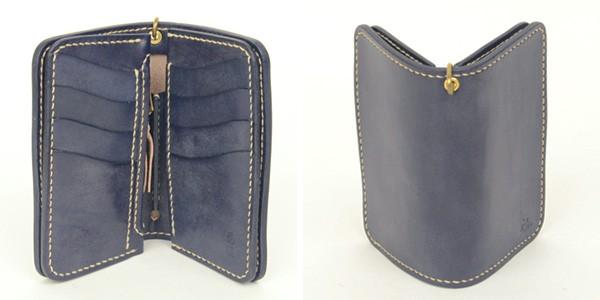 革蛸謹製 台形ミドル ウォレット カード4段[a5]革蛸 オリジナル ブライドルレザー 鴉羽 の画像6