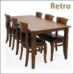 ダイニングテーブルセット 6人掛け 7点 テーブル幅180 アカシア 無垢材 天然木 レトロ ヴィンテージ クラシック チェア バイキャスト PVC 合成皮革 北欧 モダン