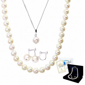 パール ネックレス ピアス イヤリング 連ネックレス 一粒 3点セット あこや 本真珠 8.5-9.0mm  ホワイトピンク系 結婚式 冠婚葬祭 送料無料|velsepone|09