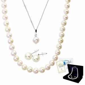 パール ネックレス ピアス イヤリング 連ネックレス 一粒 3点セット あこや 本真珠 8.5-9.0mm  ホワイトピンク系 結婚式 冠婚葬祭 送料無料|velsepone|08