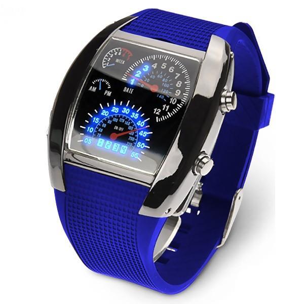 腕時計 メンズ LED デジタルウォッチ カレンダー 日付表示 LEDデジタル腕時計 スピードメーター 速度計モチーフ 時計 デジタル表示 タコメーター おしゃれ|versos|08
