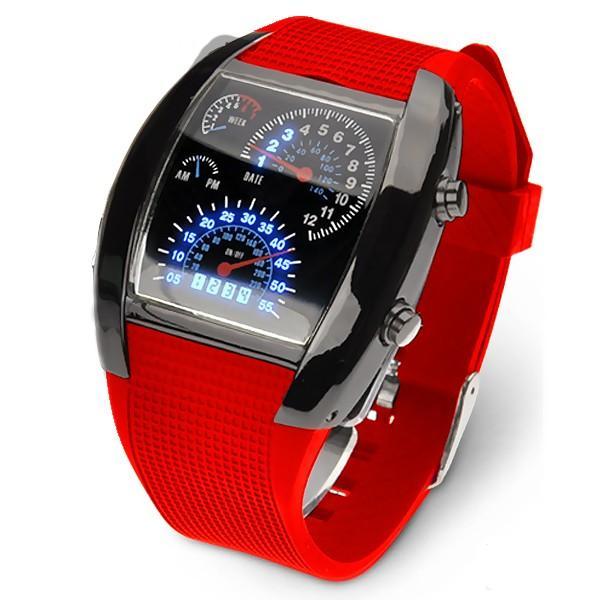 腕時計 メンズ LED デジタルウォッチ カレンダー 日付表示 LEDデジタル腕時計 スピードメーター 速度計モチーフ 時計 デジタル表示 タコメーター おしゃれ|versos|06