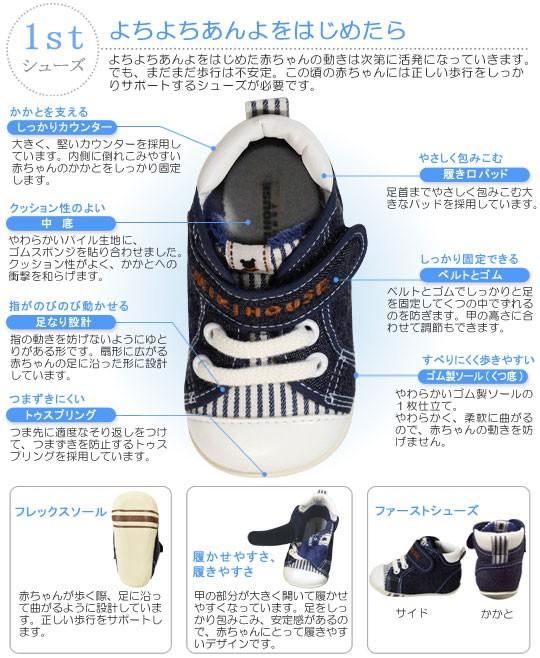 【送料無料】 【出産お祝い】 BBBデニムファーストベビーシューズ 【子供の靴】 (11cm-13cm) (ミキハウスファースト) MIKIHOUSE FIRST