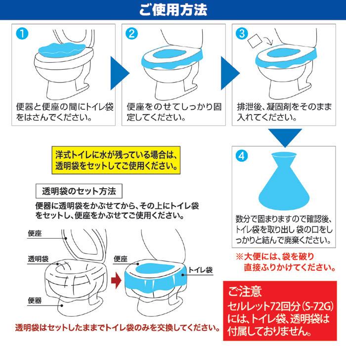 非常用トイレ セルレット 72回分 S-72G