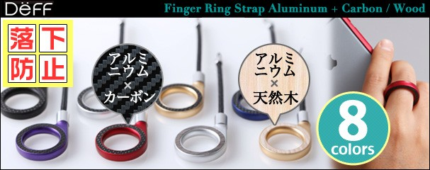 Finger Ring Strap Aluminum + Carbon/Wood