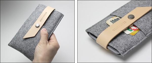 Charbonize レザー & フェルト ウォレットタイプケース for iPhone 6 Plus
