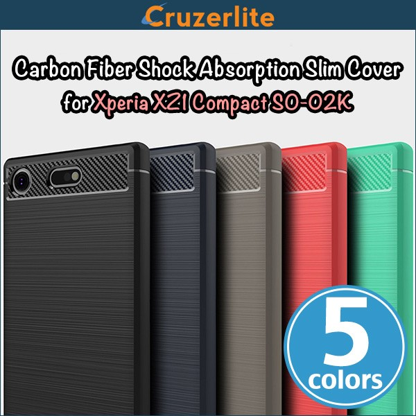 Cruzerlite Carbon Fiber Shock Absorption Slim Cover for Xperia XZ1 Compact SO-02K
