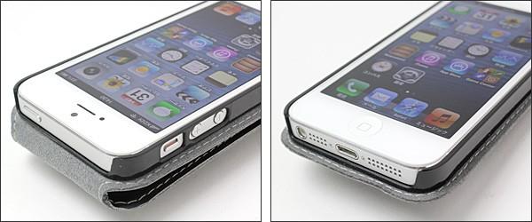 PDAIR レザーケース for iPhone 5 縦開きトップタイプ(ボタンタイプ)