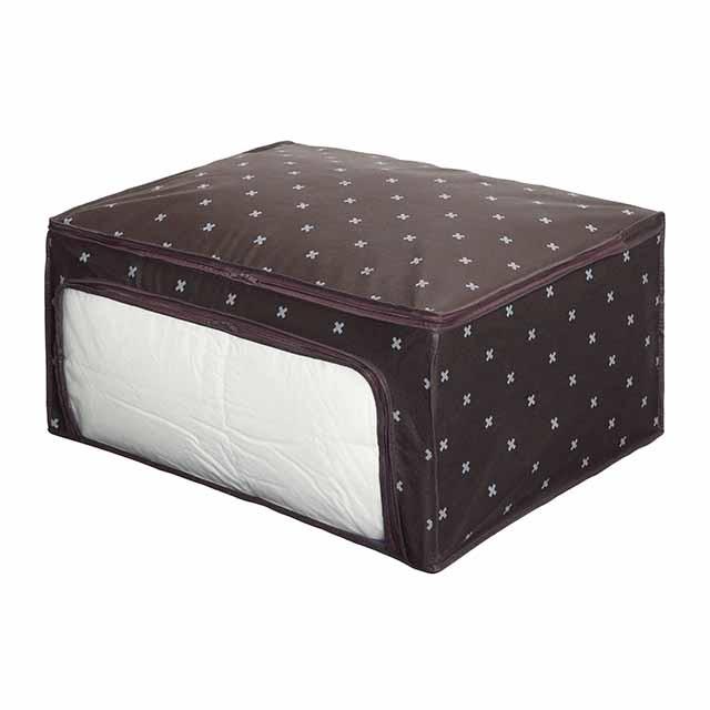 上フタ開き+前開きですので、収納物の出し入れがさらに簡単に。軽量で通気性のよい不織布を使用。