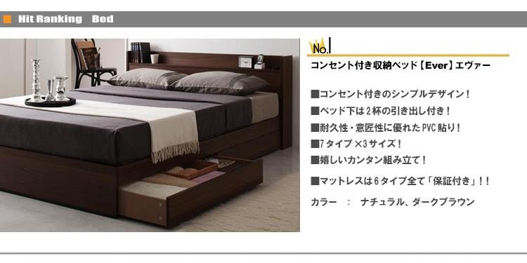 人気NO.1 コンセント付き収納ベッド【Ever】エヴァー