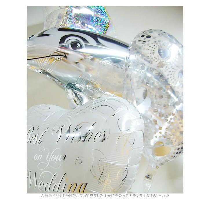 結婚祝スクリプト【シルバー】ドルフィン5バルーンセットのUP画像2
