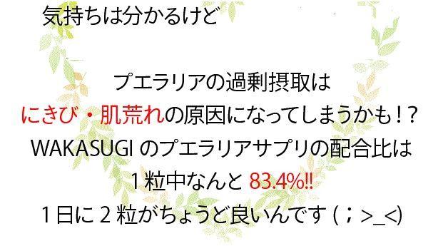 WAKASUGIのプエラリアサプリの配合比は1粒中83.4%!1日に2粒がちょうど良いんです